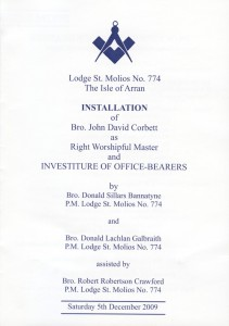 Installation of John Corbett, December 2009