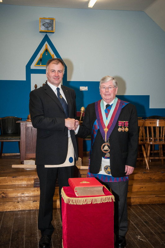 Alex Roberts, the candidate for the Excellent Master's Degree, and Past First Principal and Provincial Grand Superintendent, John Hackett